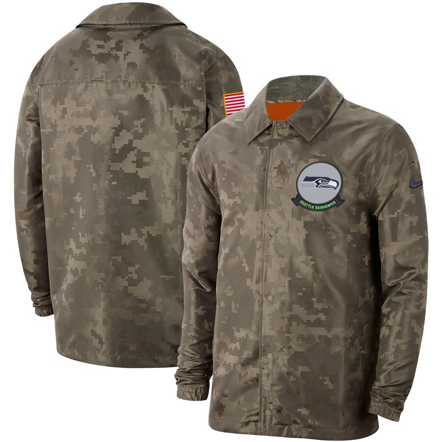 Men's Seattle Seahawks Nike Camo 2019 Salute to Service Sideline Full Zip Lightweight Jacket