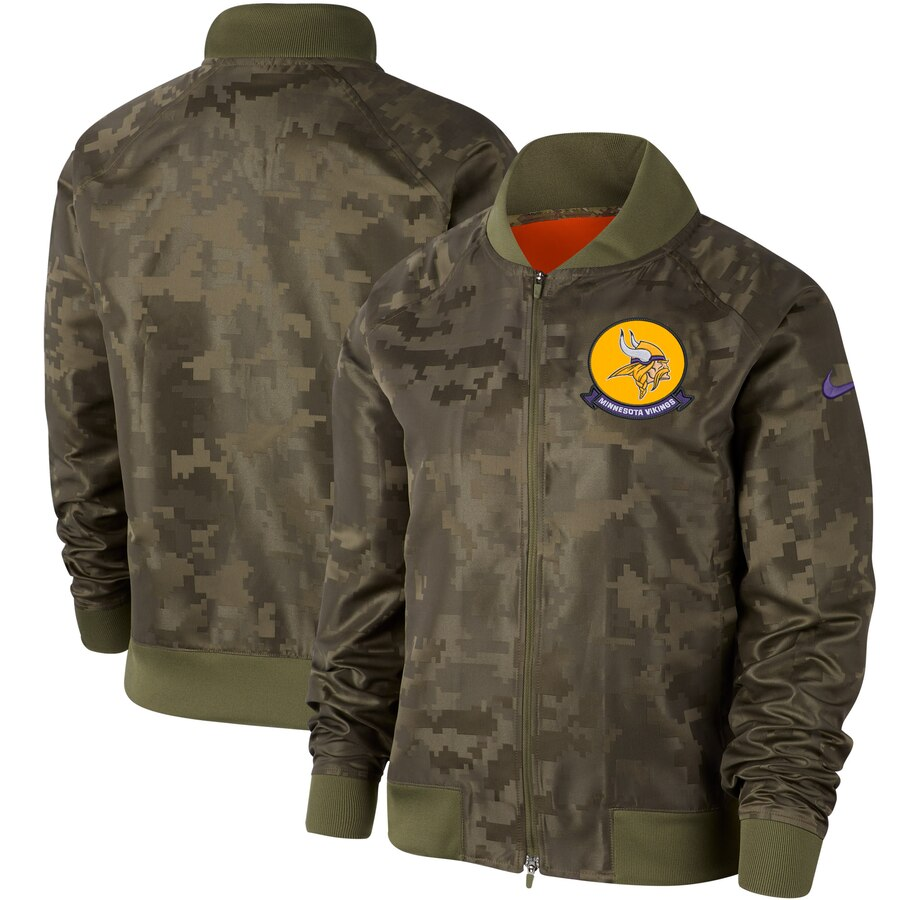 Women's Minnesota Vikings Nike Olive 2019 Salute to Service Full Zip Bomber Jacket
