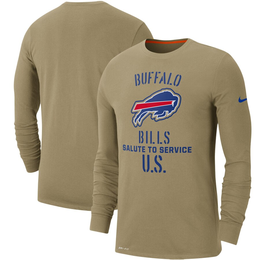 Men's Buffalo Bills Nike Tan 2019 Salute to Service Sideline Performance Long Sleeve Shirt