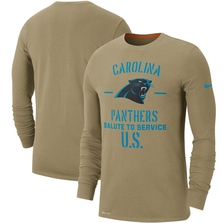 Men's Carolina Panthers Nike Tan 2019 Salute to Service Sideline Performance Long Sleeve Shirt