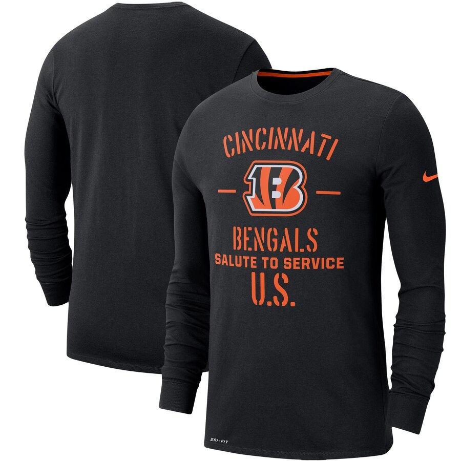Men's Cincinnati Bengals Nike Black 2019 Salute to Service Sideline Performance Long Sleeve Shirt