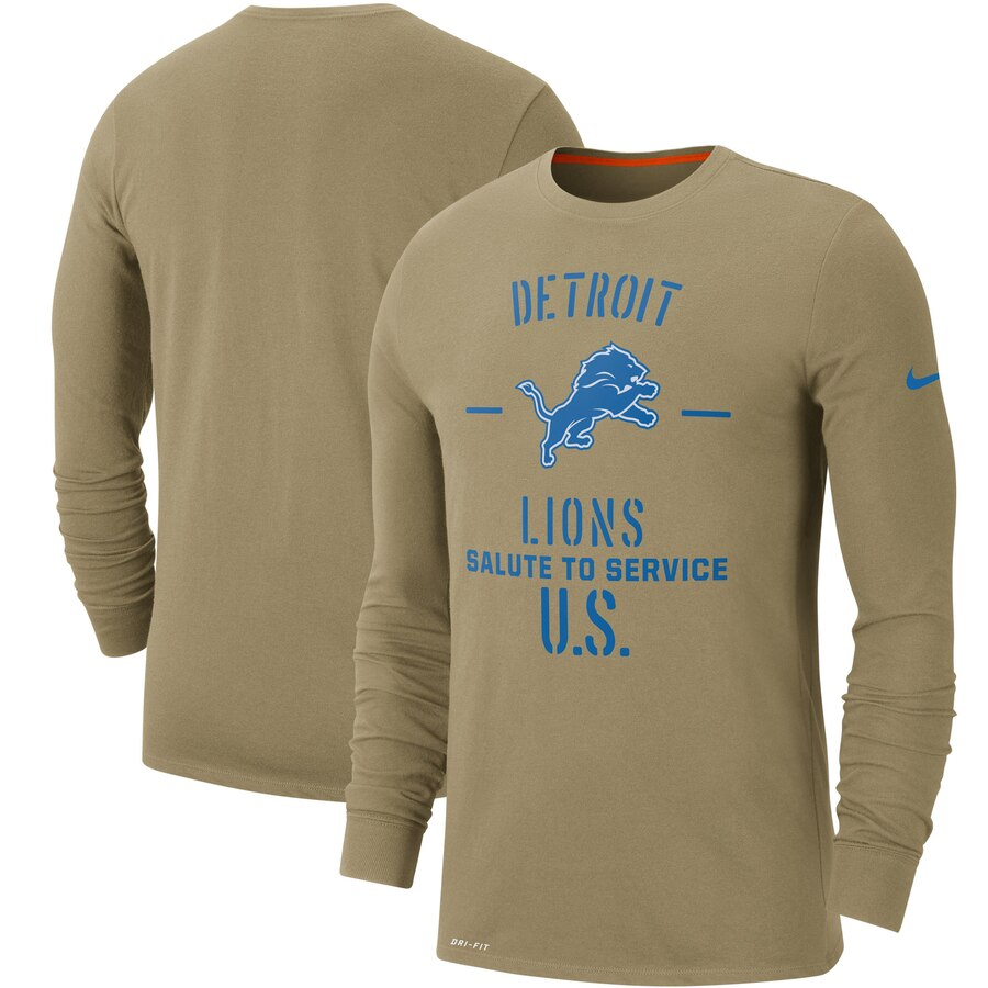 Men's Detroit Lions Nike Tan 2019 Salute to Service Sideline Performance Long Sleeve Shirt