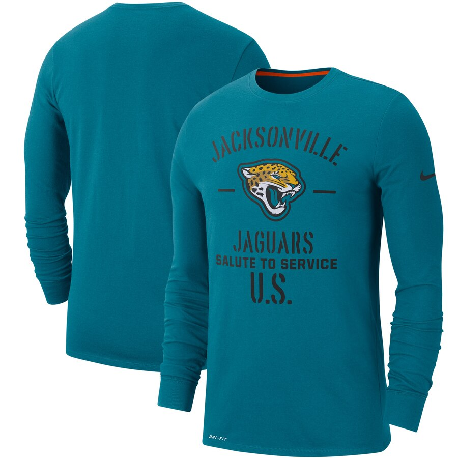 Men's Jacksonville Jaguars Nike Teal 2019 Salute to Service Sideline Performance Long Sleeve Shirt