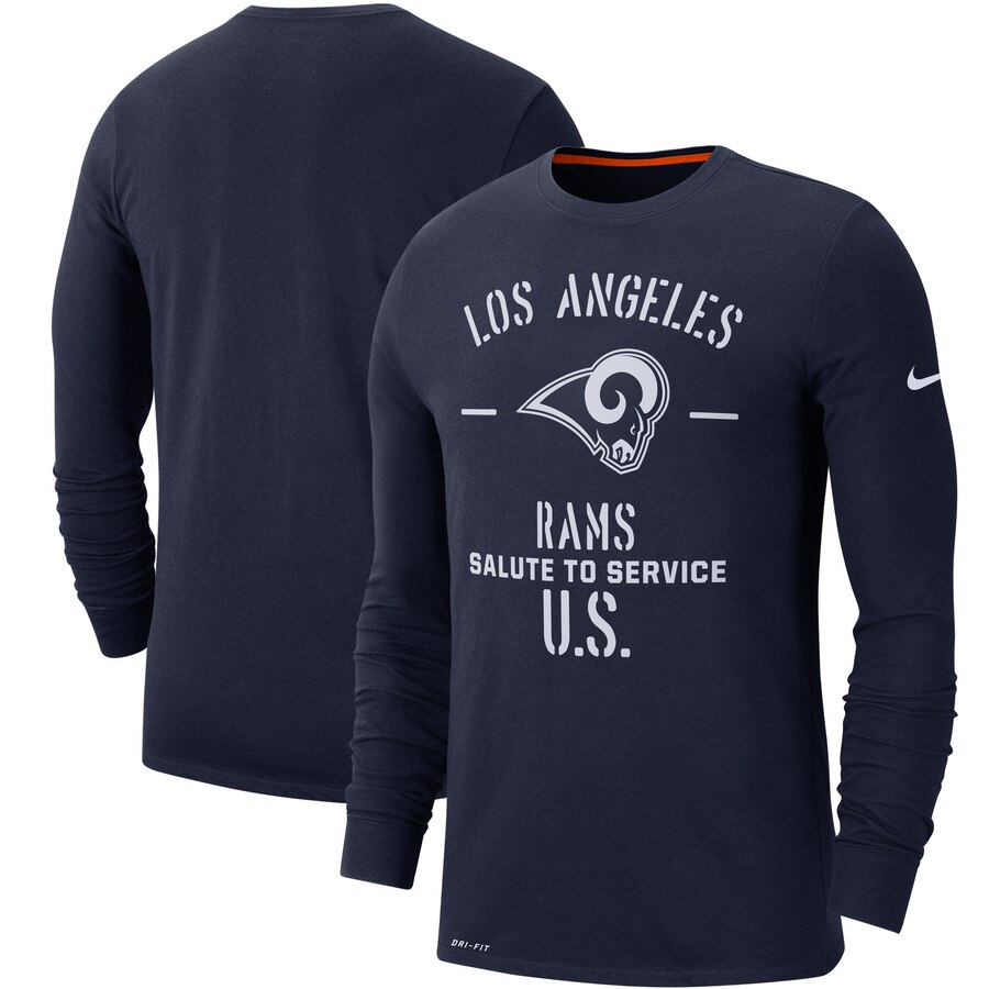 Men's Los Angeles Rams Nike Navy 2019 Salute to Service Sideline Performance Long Sleeve Shirt