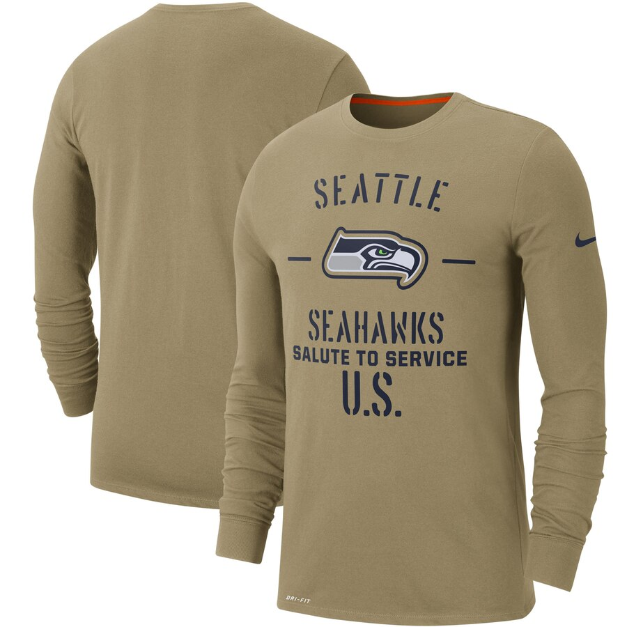 Men's Seattle Seahawks Nike Tan 2019 Salute to Service Sideline Performance Long Sleeve Shirt