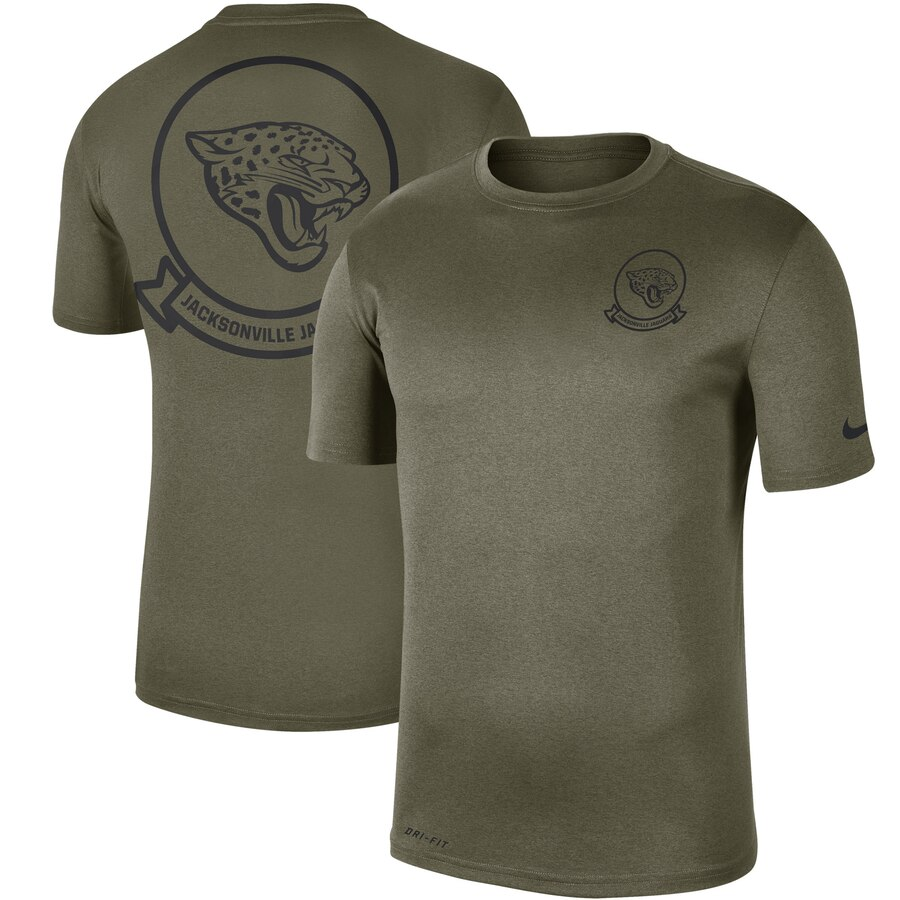 Men's Jacksonville Jaguars Nike Olive 2019 Salute to Service Sideline Seal Legend Performance T-Shirt
