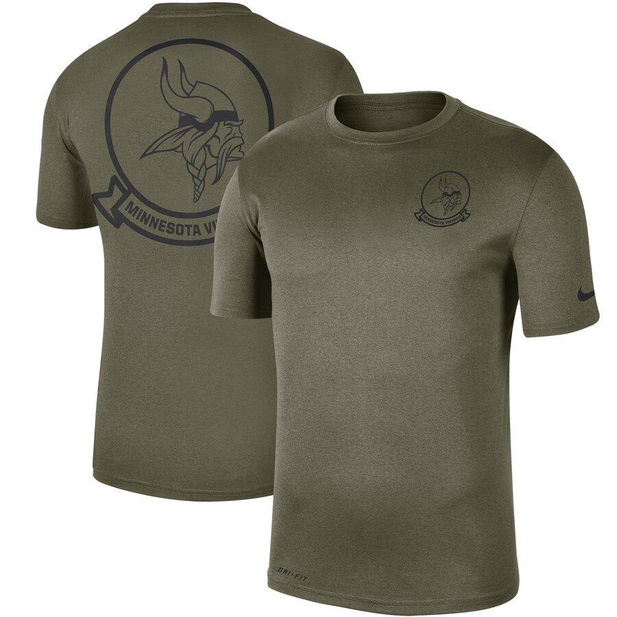 Men's Minnesota Vikings Nike Olive 2019 Salute to Service Sideline Seal Legend Performance T-Shirt