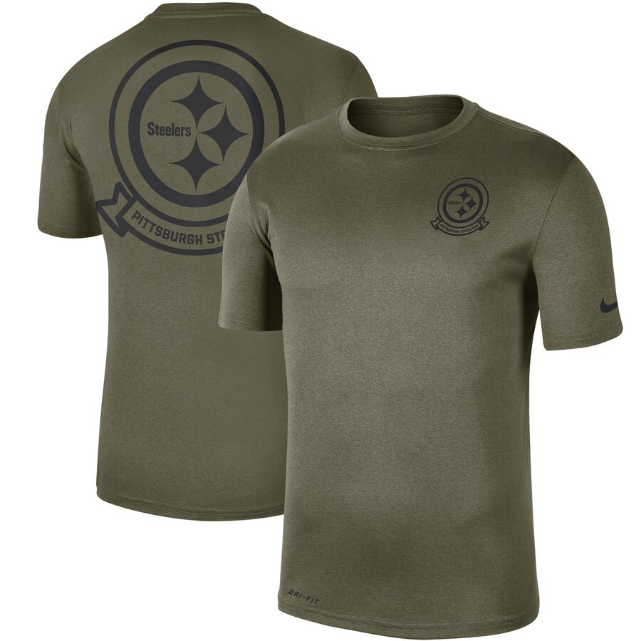 Men's Pittsburgh Steelers Nike Olive 2019 Salute to Service Sideline Seal Legend Performance T-Shirt