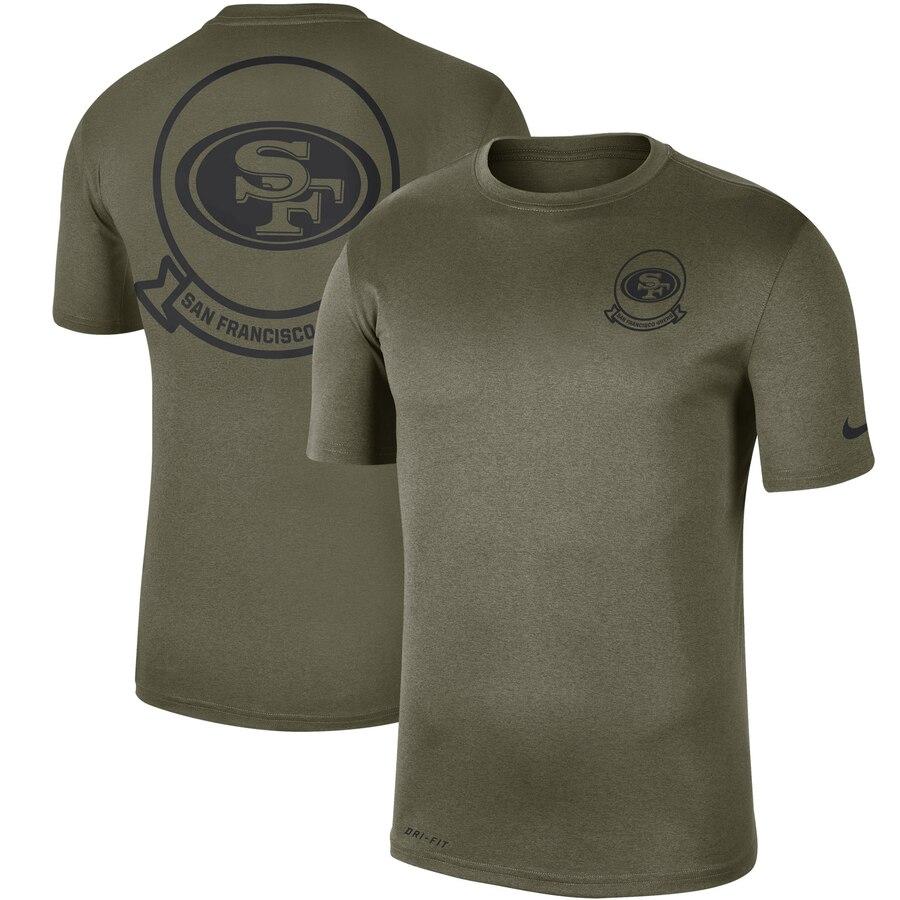 Men's San Francisco 49ers Nike Olive 2019 Salute to Service Sideline Seal Legend Performance T-Shirt