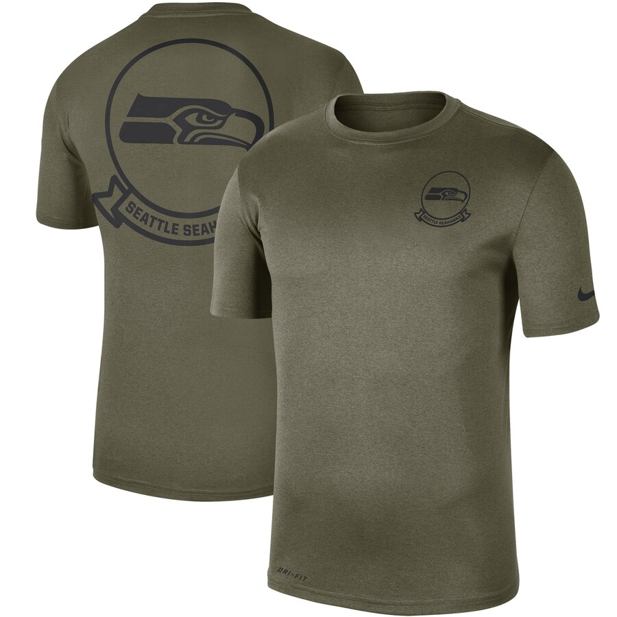 Men's Seattle Seahawks Nike Olive 2019 Salute to Service Sideline Seal Legend Performance T-Shirt