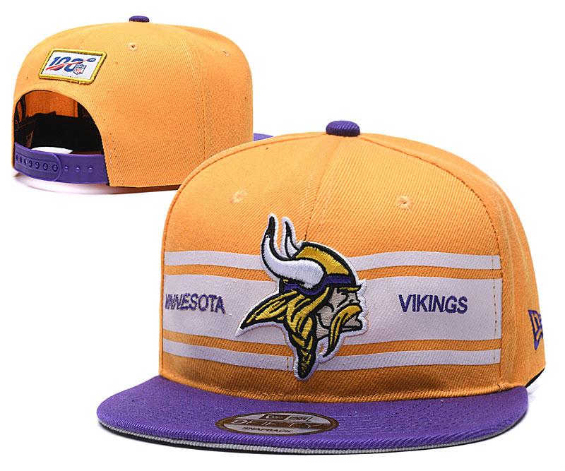 Vikings Team Logo Yellow 100th Season Adjustable Hat YD
