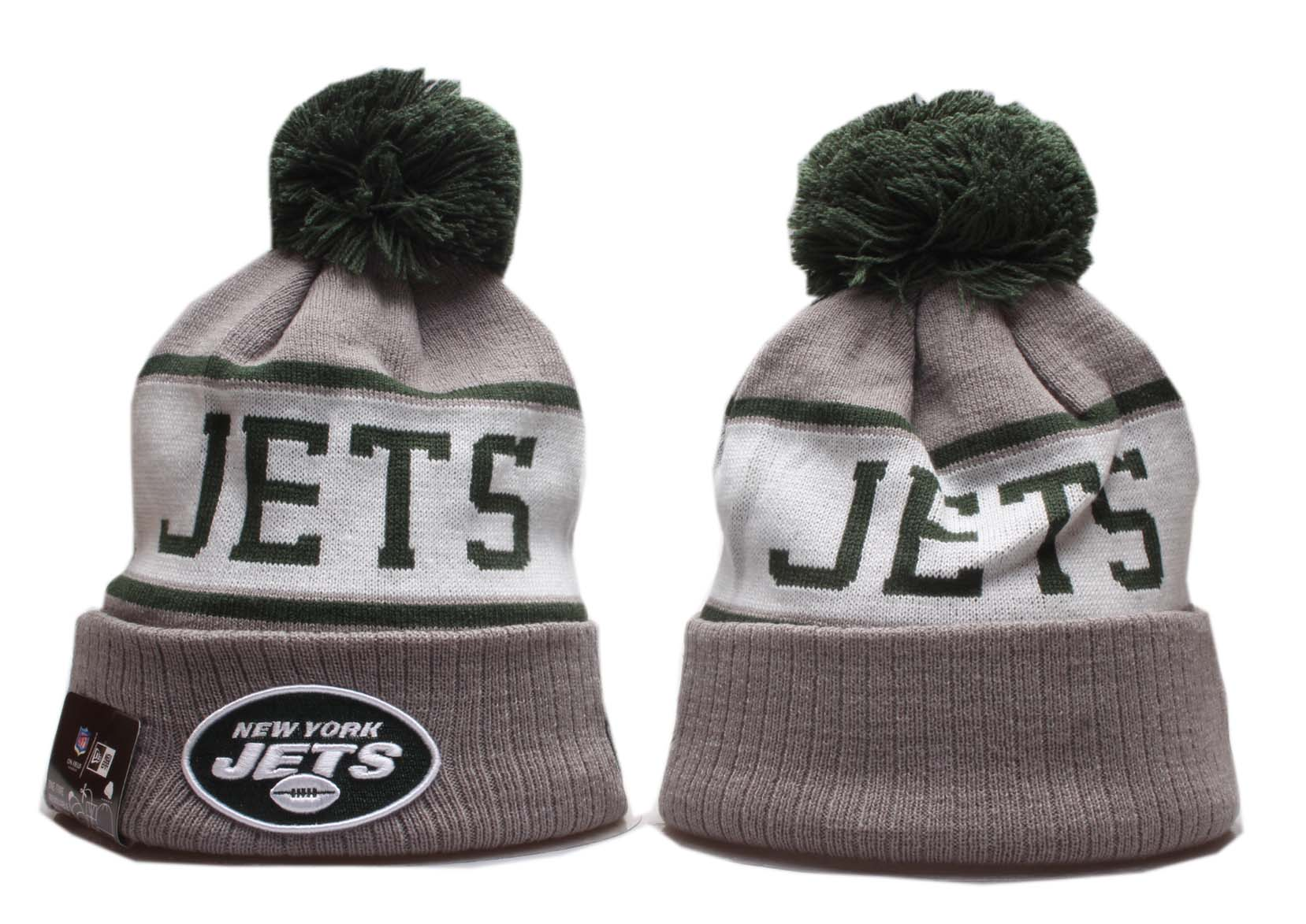 Jets Team Logo Gray White Pom Knit Hat YP