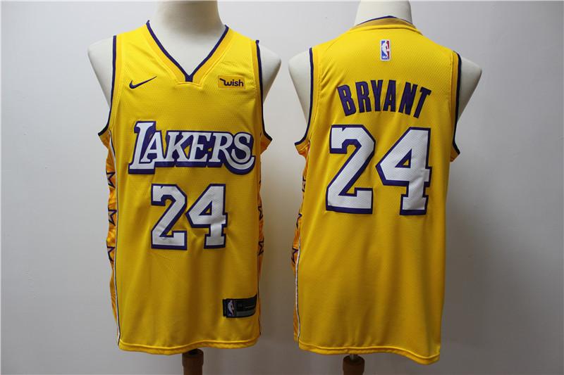 Lakers 24 kobe Bryant Yellow 2019-20 Nike City Edition Swingman Jersey