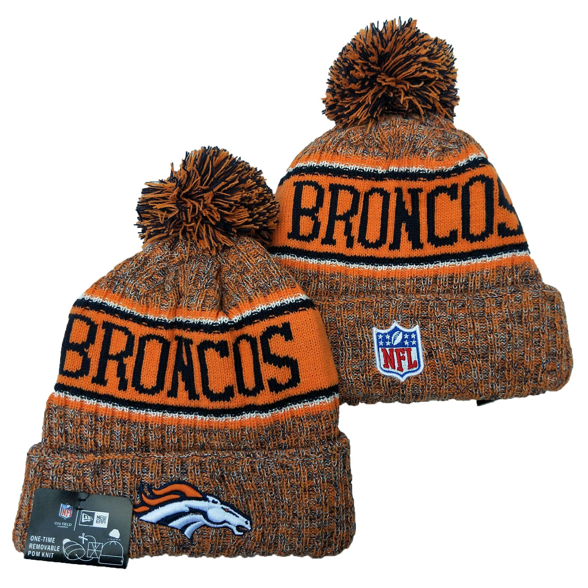 Broncos Team Logo Yellow Pom Knit Hat YD