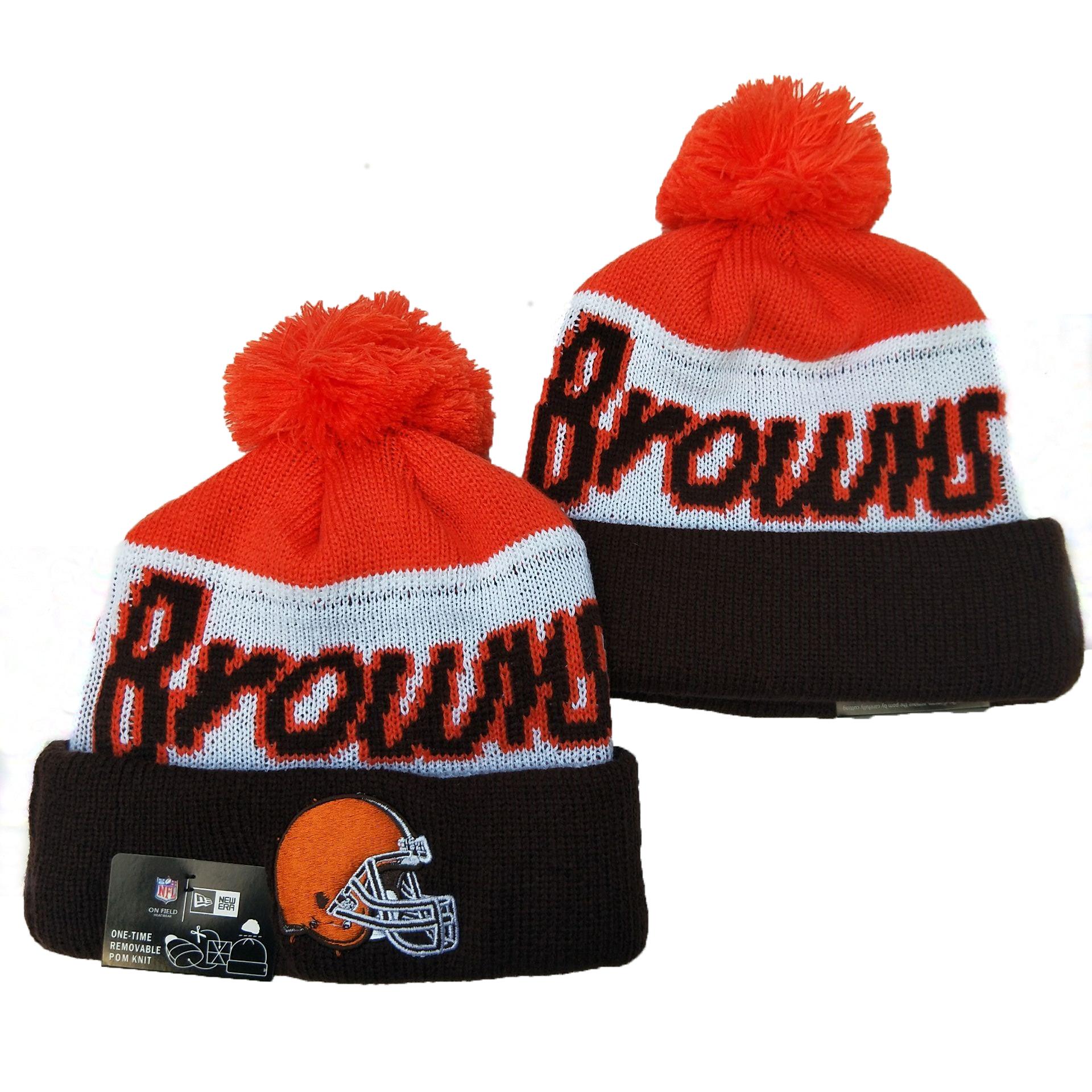 Browns Team Logo Red White Black Pom Knit Hat YD