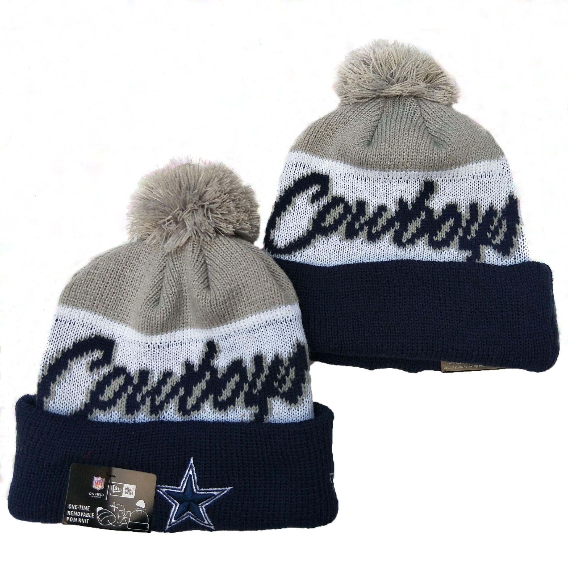 Cowboys Team Logo Gray White Navy Pom Knit Hat YD