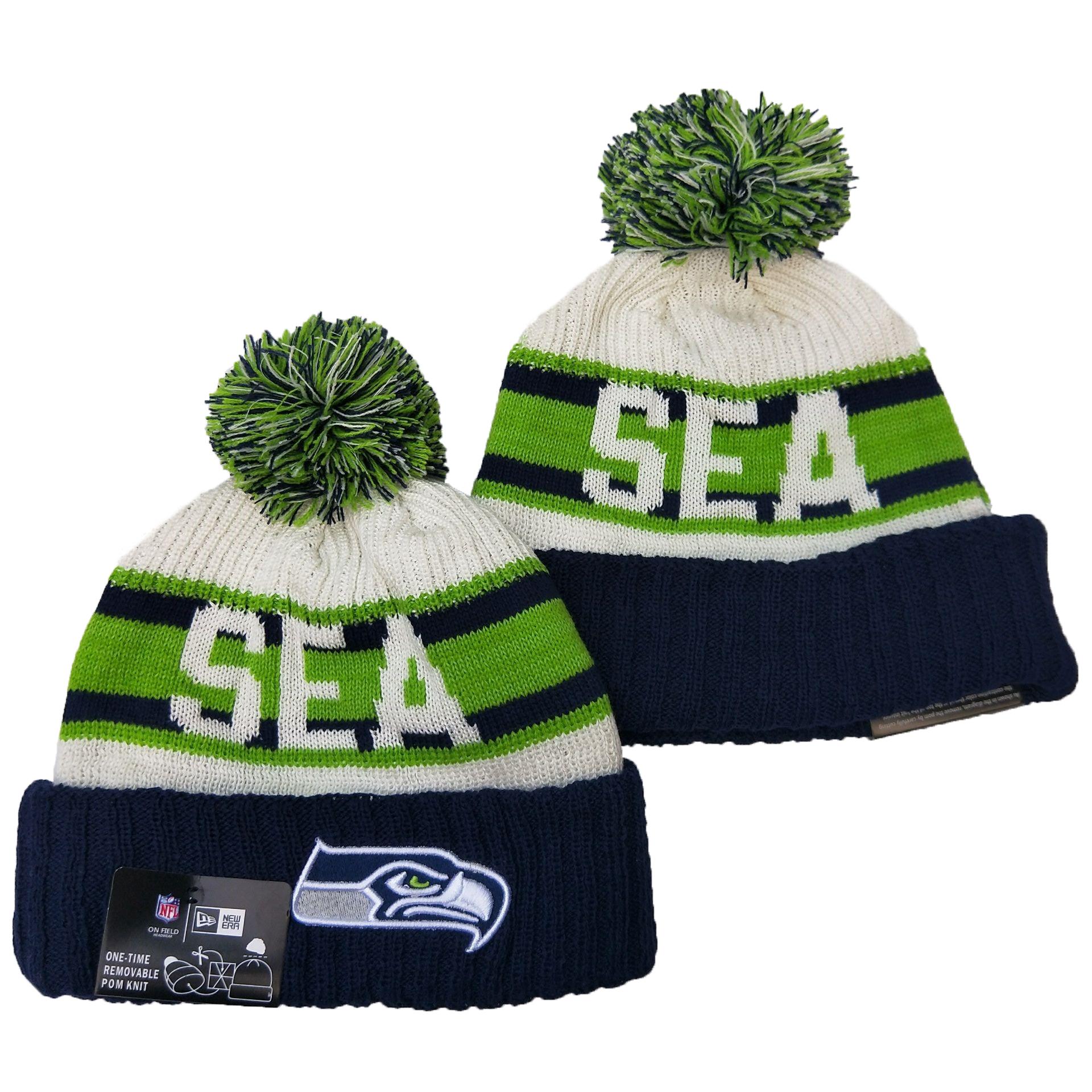 Seahawks Team Logo Green White Navy Pom Knit Hat YD