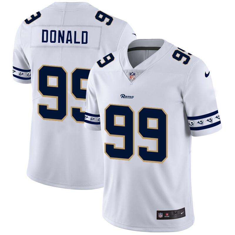 Nike Rams 99 Aaron Donald White Team Logos Fashion Vapor Limited Jersey