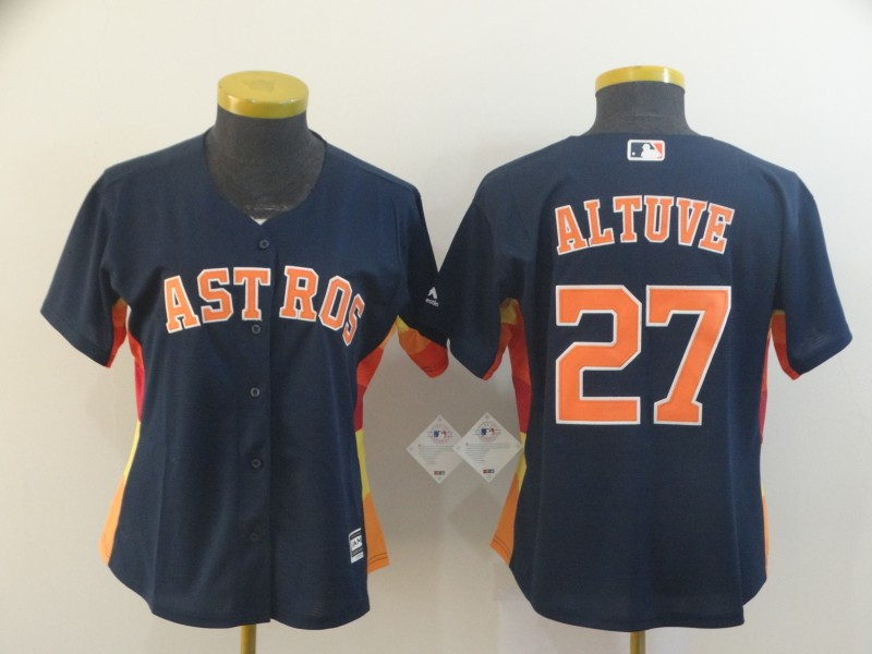 Astros 27 Jose Altuve Navy Women Cool Base Jersey