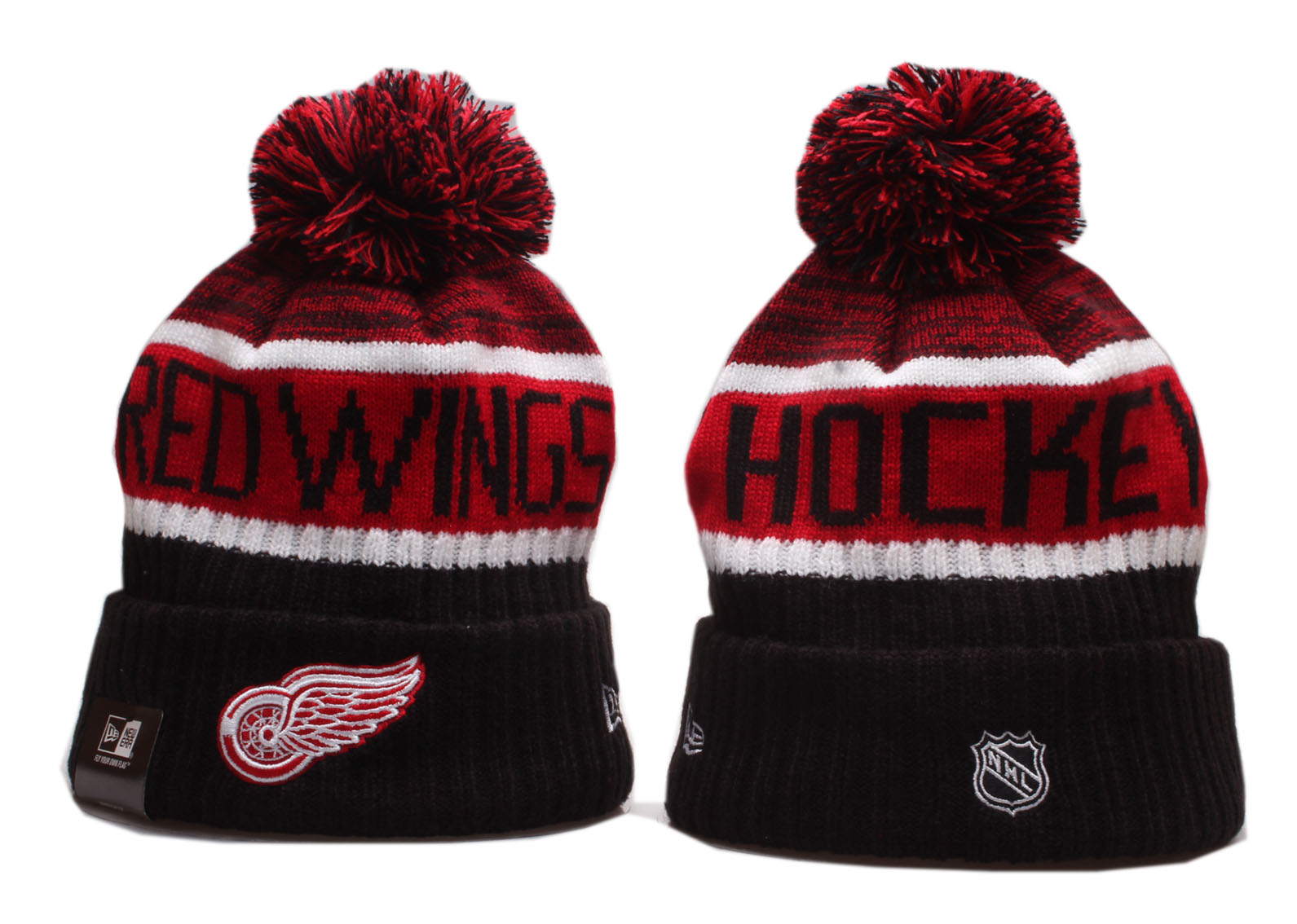 Red Wings Team Logo Red Black Wordmark Cuffed Pom Knit Hat YP