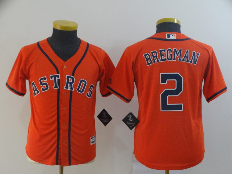 Astros 2 Alex Bregman Orange Youth Cool Base Jersey
