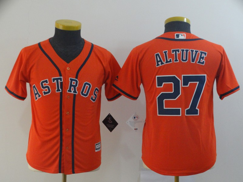 Astros 27 Jose Altuve Orange Youth Cool Base Jersey
