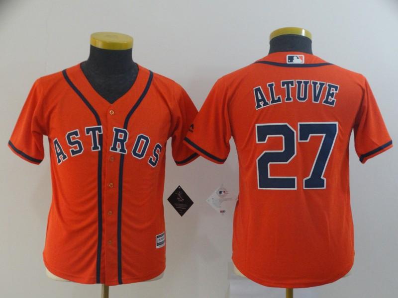Astros 27 Jose Altuve Orange Youth Cool Base Jersey