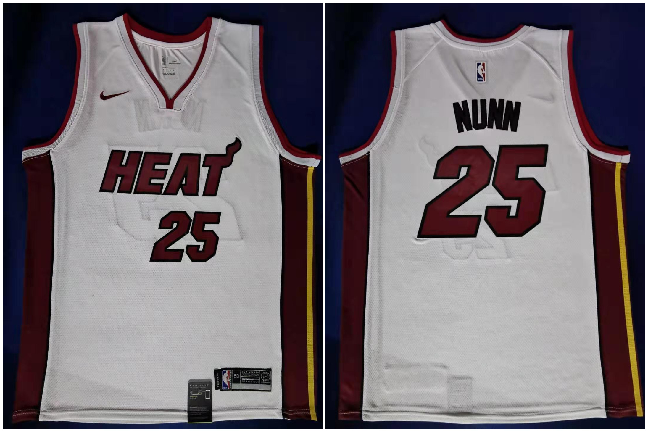 Heat 25 Kendrick Nunn White Nike Swingman Jersey