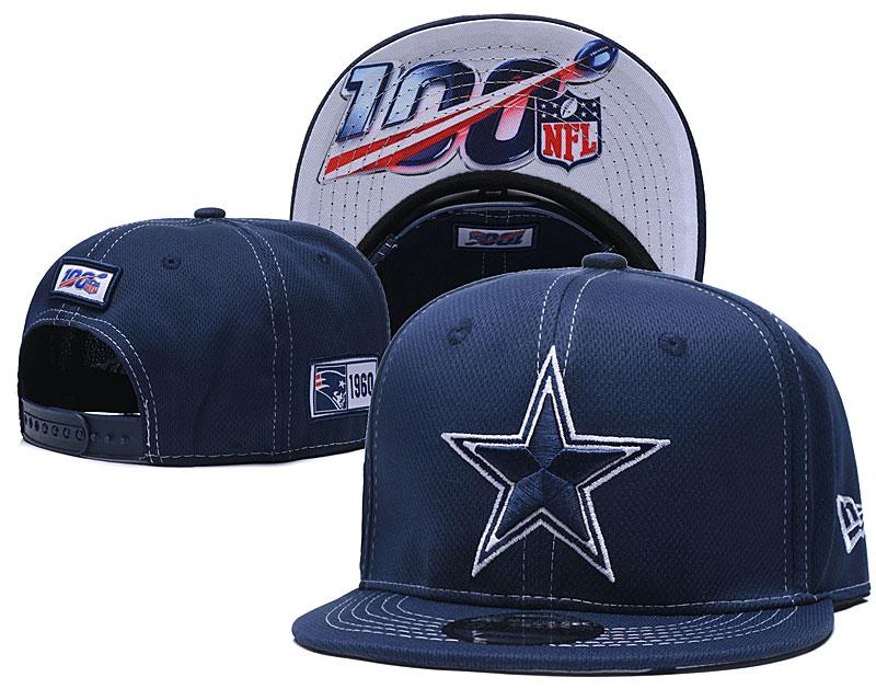 Cowboys Team Logo Navy 100th Seanson Adjustable Hat YD