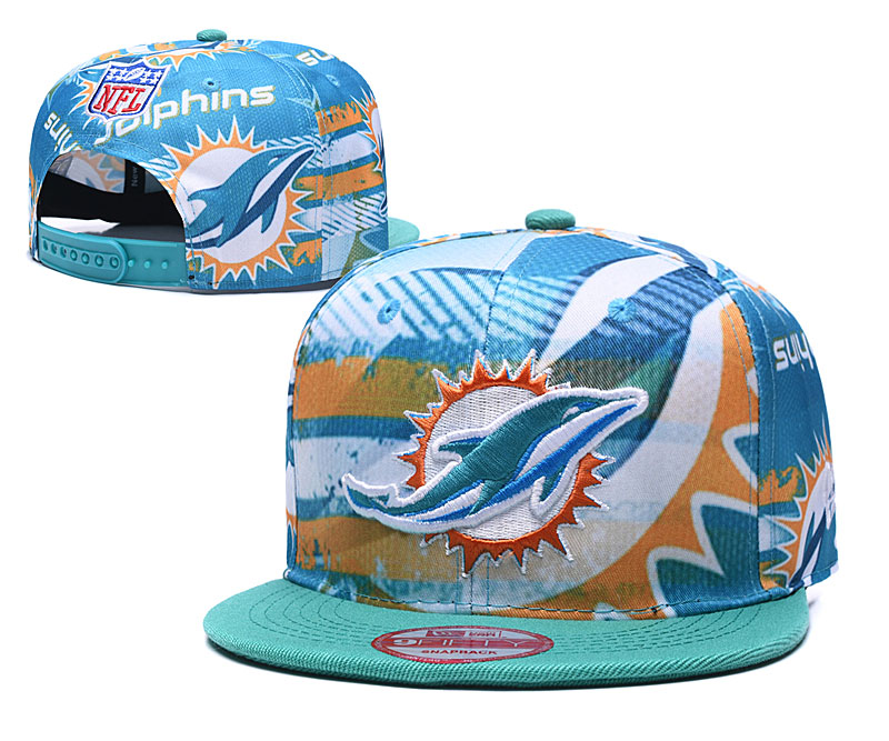 Dolphins Team Logo Aque Adjustable Hat TX