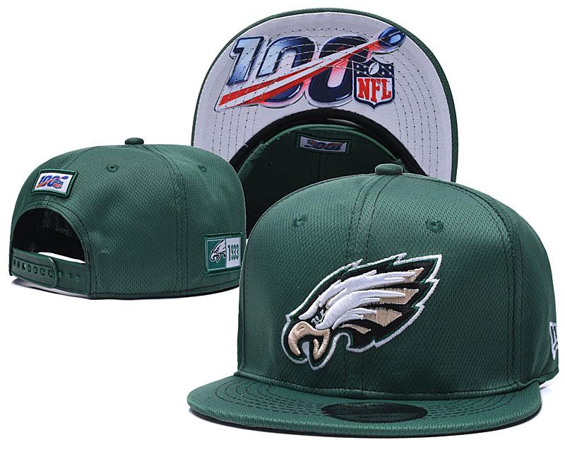 Eagles Team Logo Green 100th Seanson Adjustable Hat YD