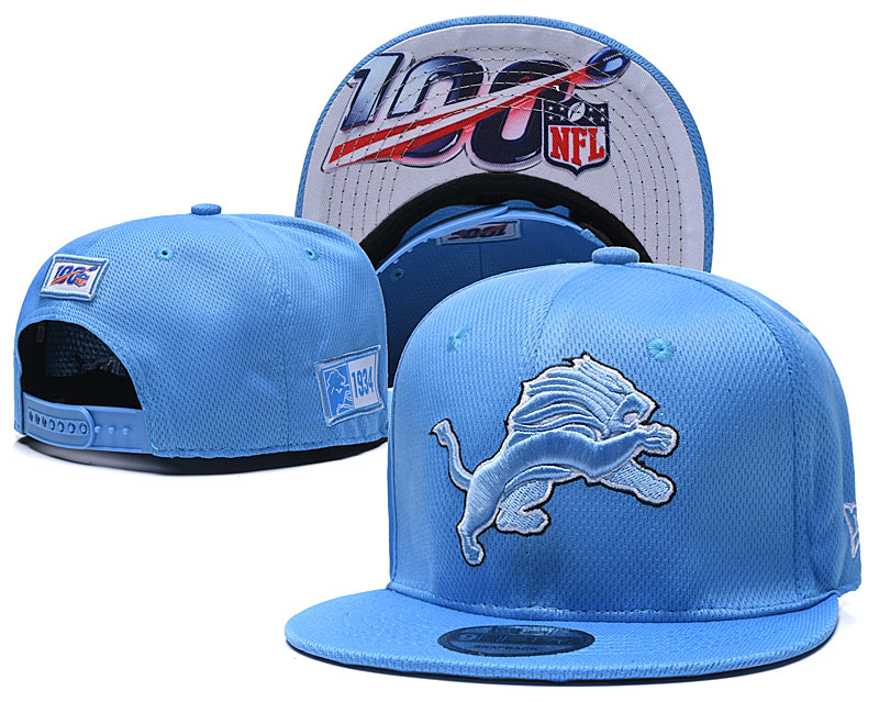 Lions Team Logo Light Blue 100th Seanson Adjustable Hat YD