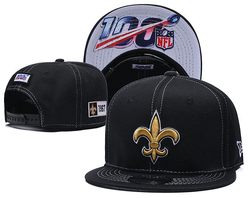 Saints Team Logo Black 100th Seanson Adjustable Hat YD