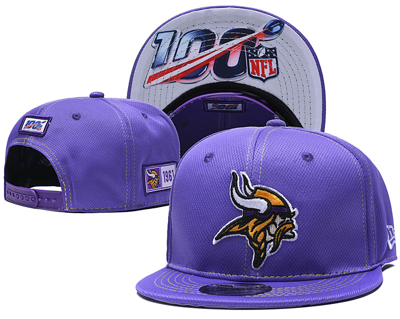 Vikings Team Logo Purple 100th Seanson Adjustable Hat YD