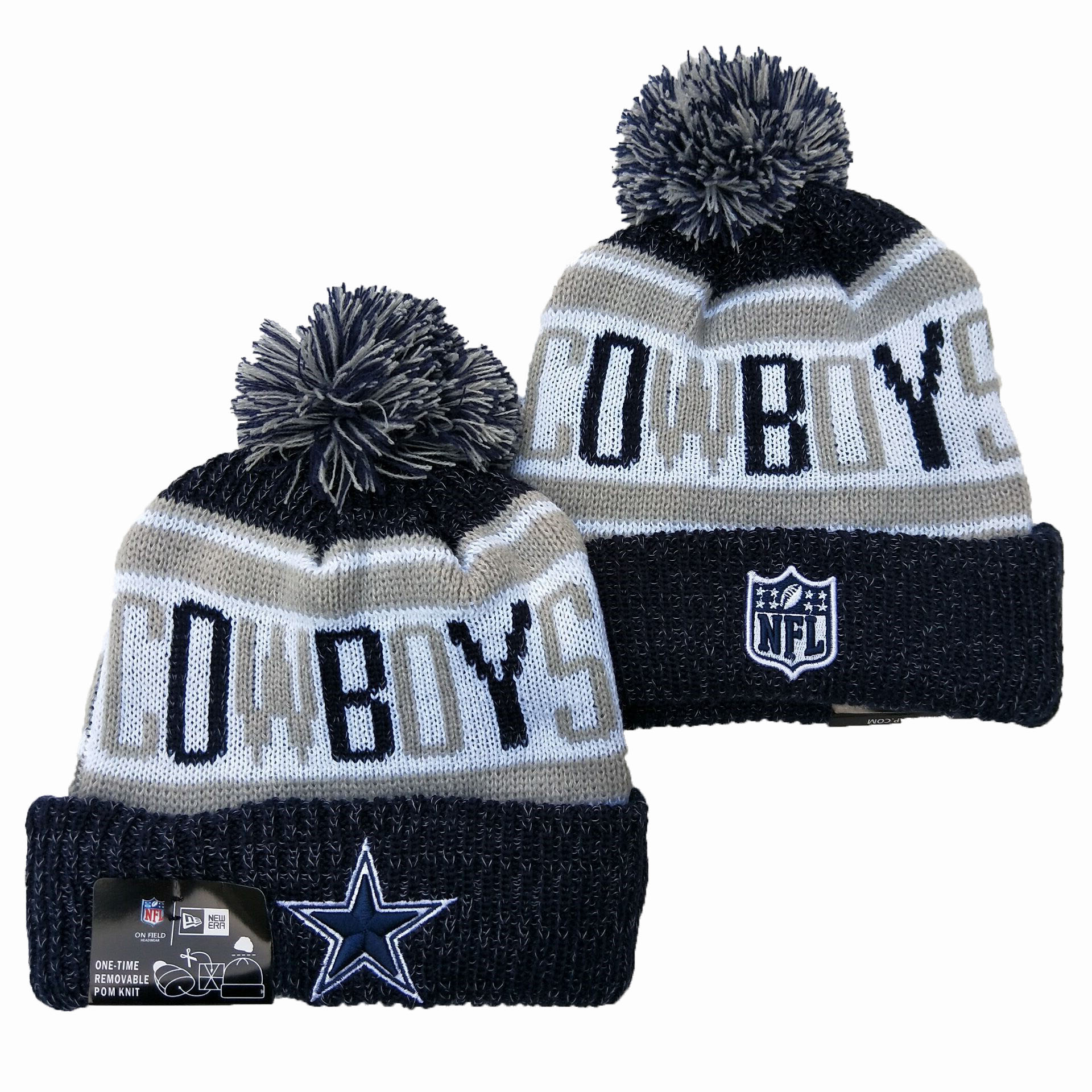Cowboys Team Logo Navy Pom Knit Hat YD