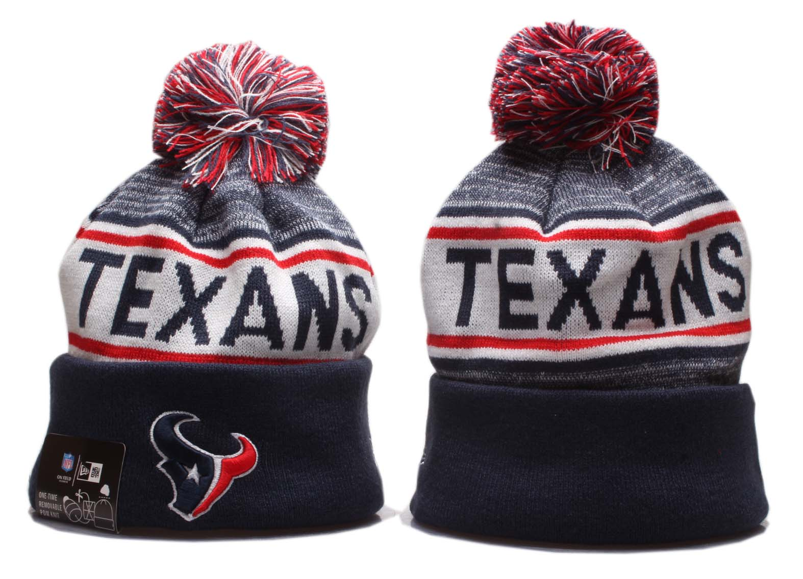 Texans Team Logo Navy Pom Knit Hat YP