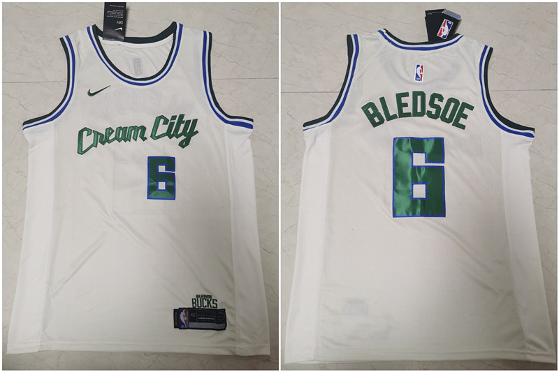 Bucks 6 Eric Bledsoe White 2019-20 Nike City Edition Swingman Jersey
