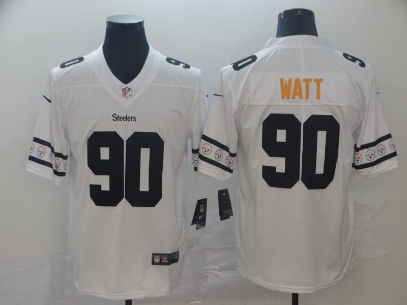 Nike Steelers 90 T.J. Watt White Team Logos Fashion Vapor Limited Jersey