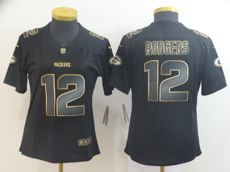Nike Packers 12 Aaron Rodgers Black Women Gold Vapor Untouchable Limited Jersey