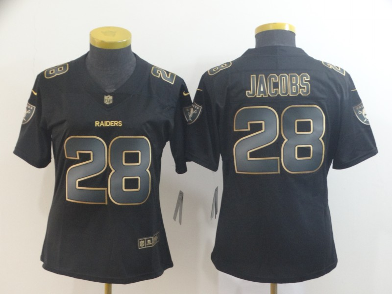 Nike Raiders 28 Josh Jacobs Black Gold Women Vapor Untouchable Limited Jersey