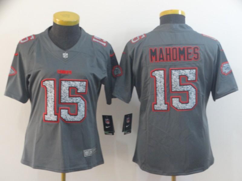 Nike Chiefs 15 Patrick Mahomes Gray Camo Women Vapor Untouchable Limited Jersey