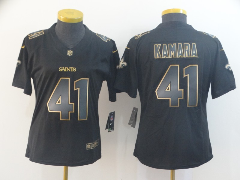 Nike Saints 41 Alvin Kamara Black Gold Women Vapor Untouchable Limited Jersey