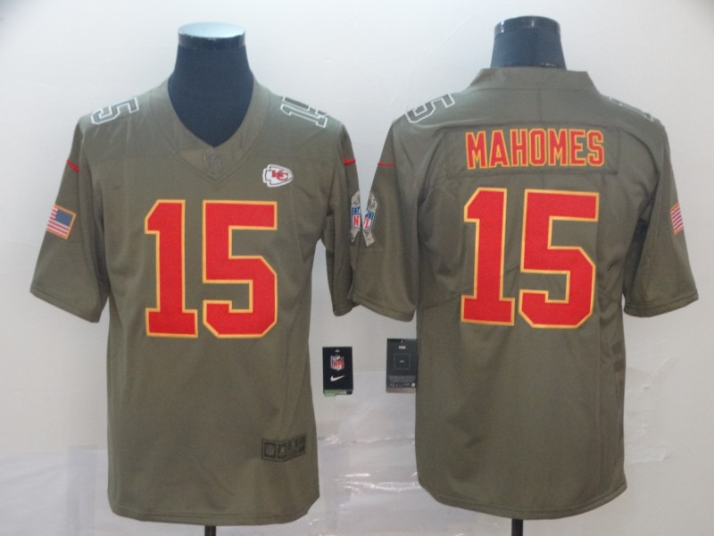 Nike Chiefs 15 Patrick Mahomes 2017 Olive Gold Salute To Service Limited Jersey