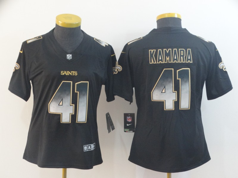 Nike Saints 41 Alvin Kamara Black Arch Smoke Women Vapor Untouchable Limited Jersey