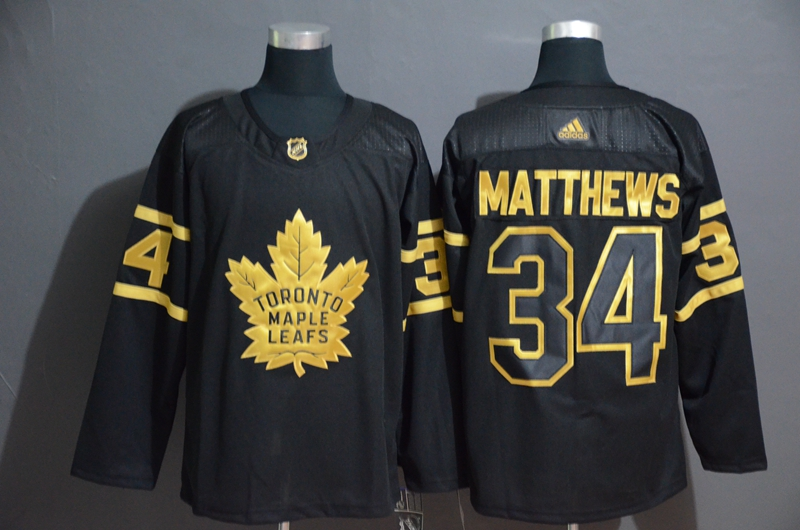 Maple Leafs 34 Auston Matthews Black Gold Adidas Jersey