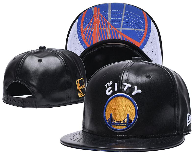 Warriors Team Logo Black Leather Adjustable Hat GS