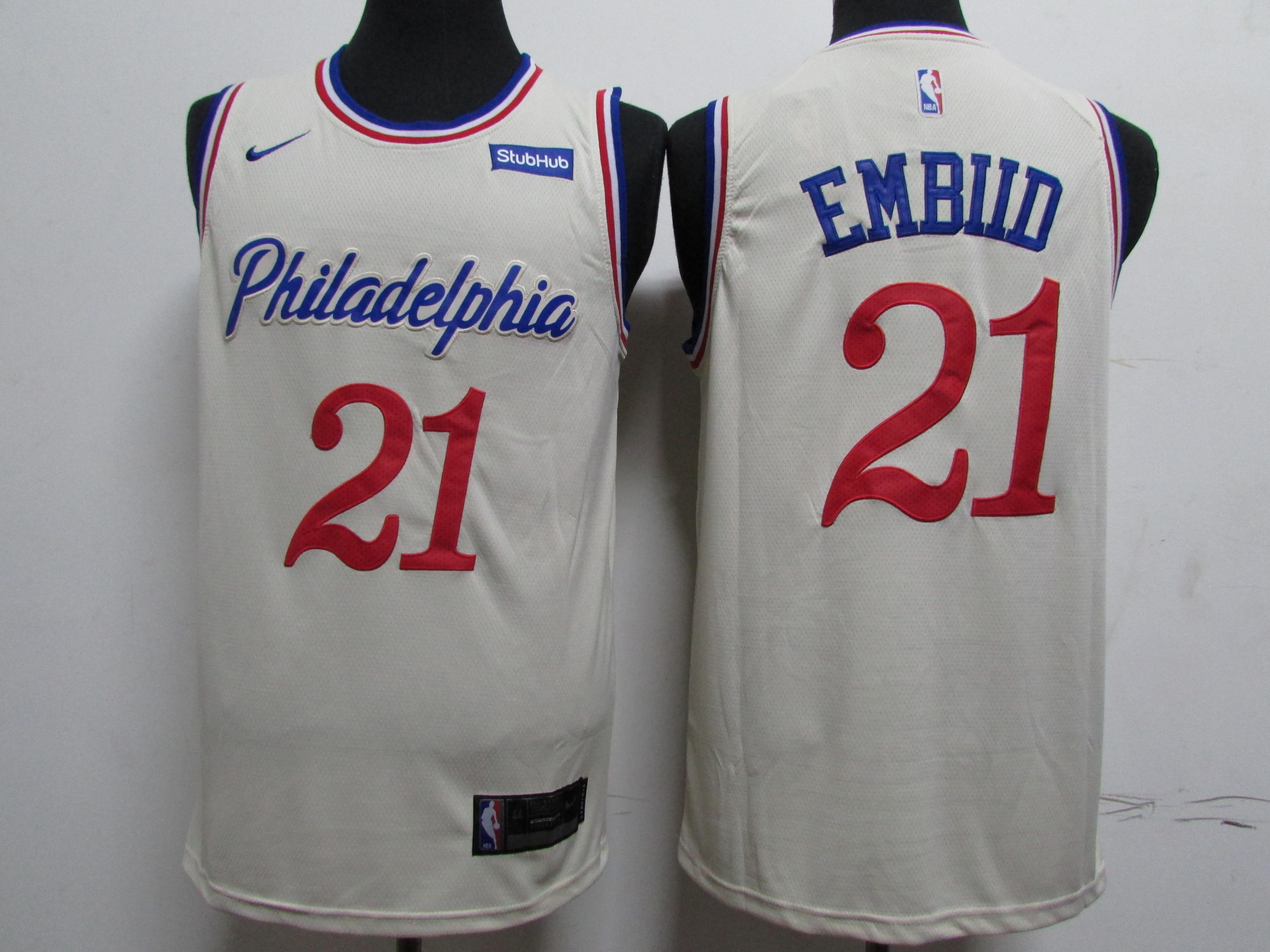 76ers 21 Joel Embiid Cream 2019-20 City Edition Nike Swingman Jersey