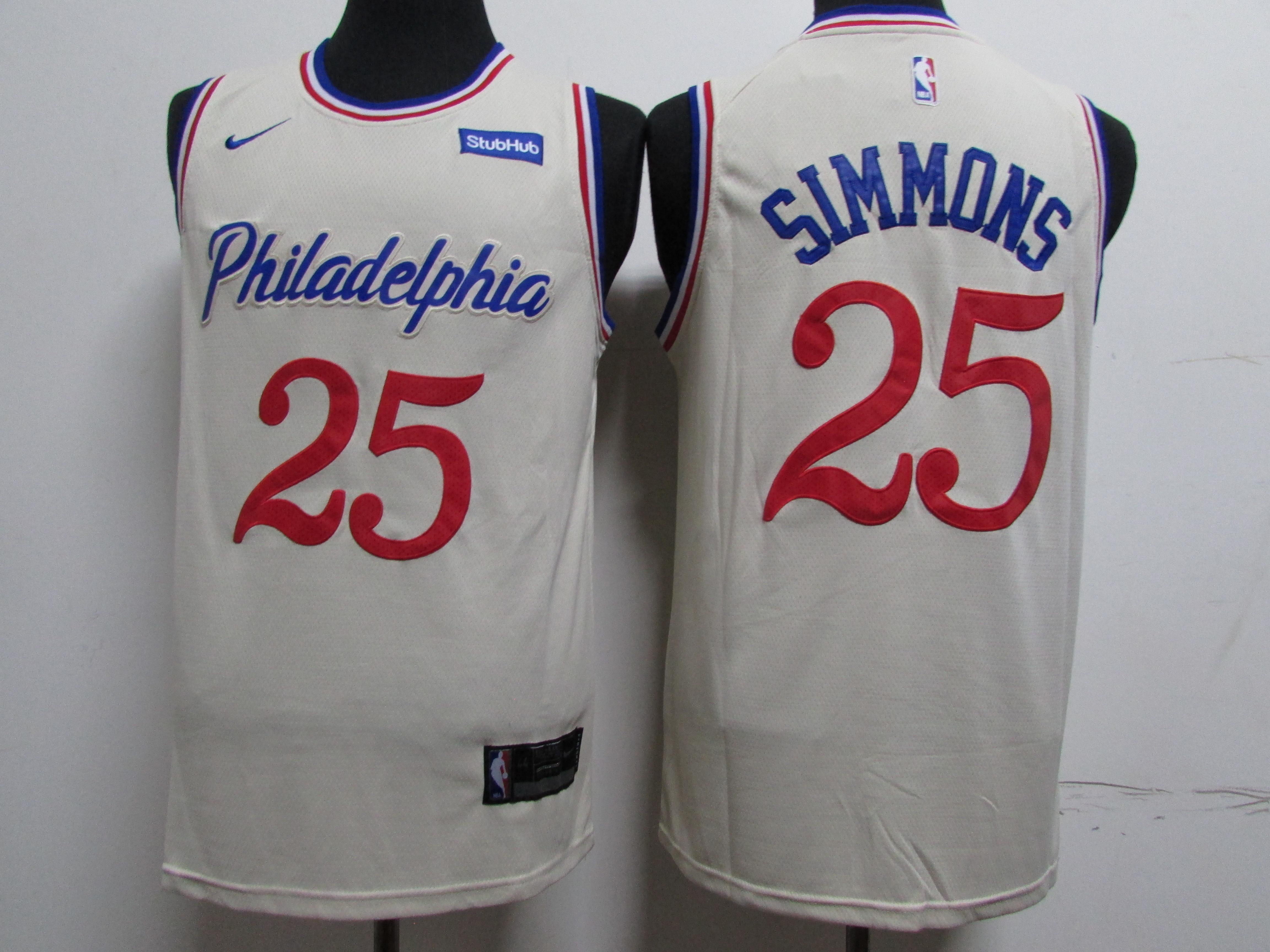 76ers 25 Ben Simmons Cream 2019-20 City Edition Nike Swingman Jersey