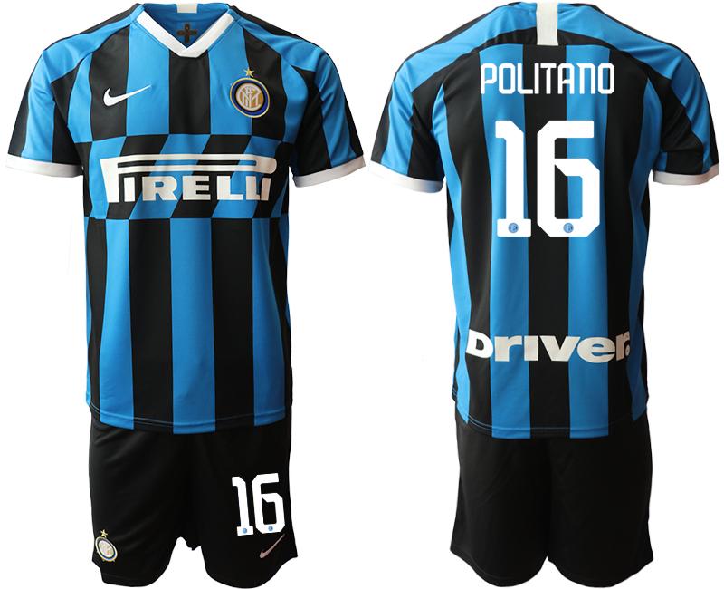 2019-20 Inter Milan 16 POLITANO Home Soccer Jersey