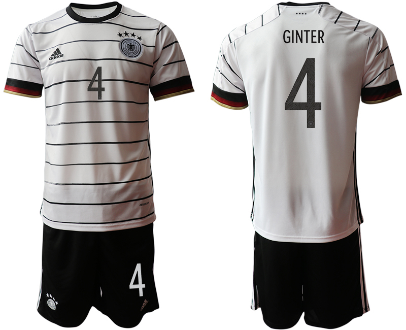 Germany 4 GINTER Home UEFA Euro 2020 Soccer Jersey